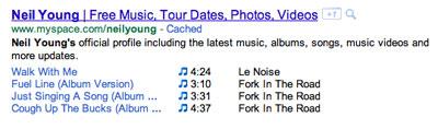 Google придумал сниппеты для музыкальных результатов поиска
