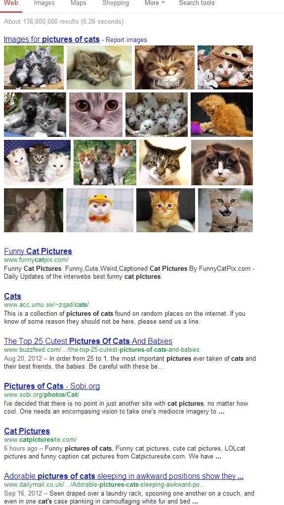 Выдаче Google - 7 результов - Только факты