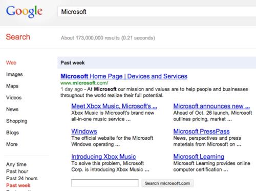 Быстрые ссылки Google подвластны времени