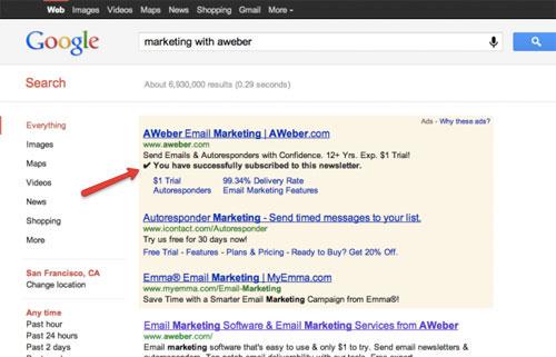 На рекламу Google Adwords можно будет подписаться