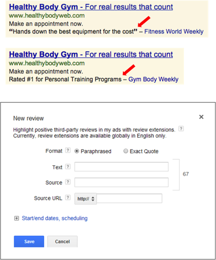 adwords review extentions